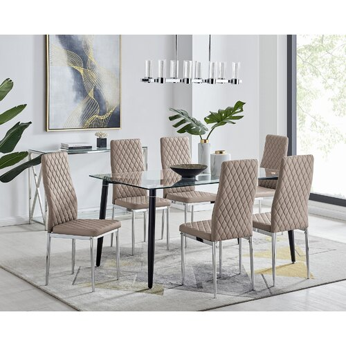 Dorothea Black Leg Glass Dining Table And 6 Cappuccino Chair