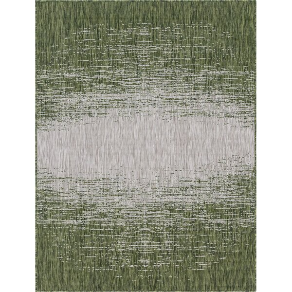 Jennette Green/Gray Indoor/Outdoor Area Rug by Wrought Studio