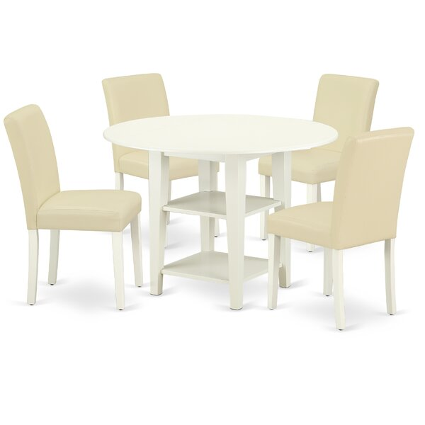 Addy 5 Piece Drop Leaf Solid Wood Breakfast Nook Dining Set by Winston Porter