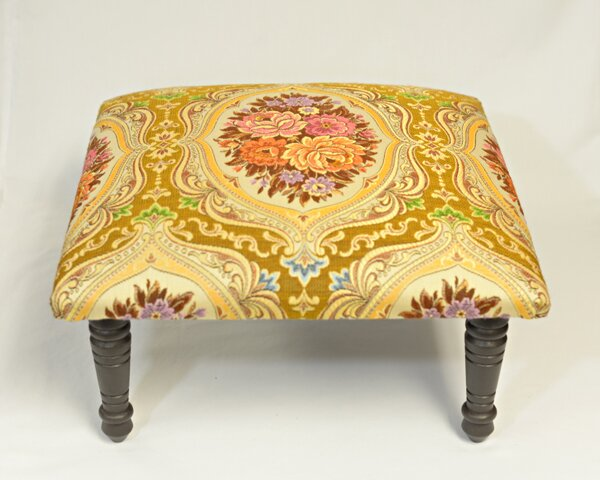 Maxine Carnival Brocade Medallion Accent Stool by Corona Decor