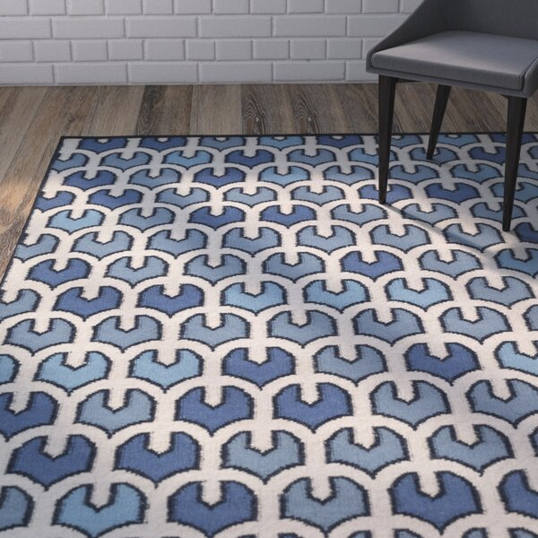 Criss Blue/Beige Geometric Area Rug by Wrought Studio