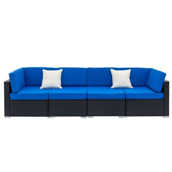 Carranza 4 Piece Rattan Sectional Seating Group with Cushions by Latitude Run