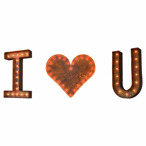 3 Piece I Heart U Marquee Light Set by TrekBeds