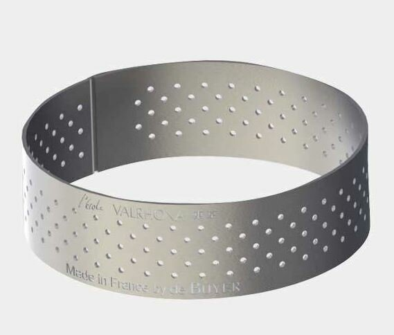 Straight Edge Perforated Stainless Steel Tart Ring by De Buyer