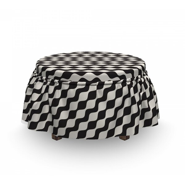 Monochromatic Wavy Stripes Ottoman Slipcover (Set Of 2) By East Urban Home