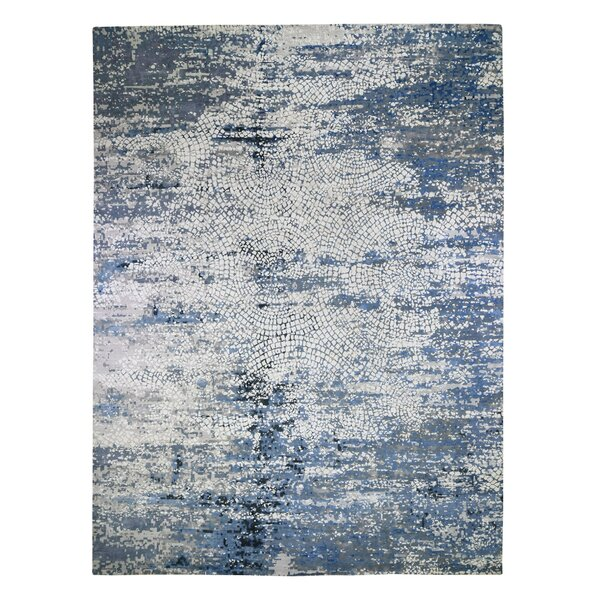One-of-a-Kind Corvallis Hand-Knotted 2010s Blue 12' x 15'1 Area Rug