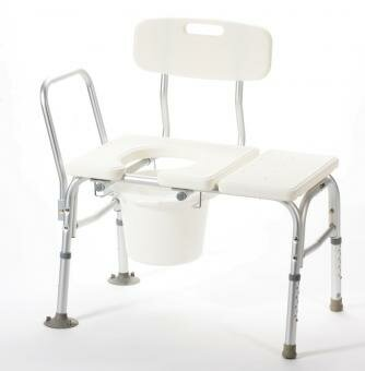 Bathtub Transfer Bench with Cutout and Commode Pail by Carex