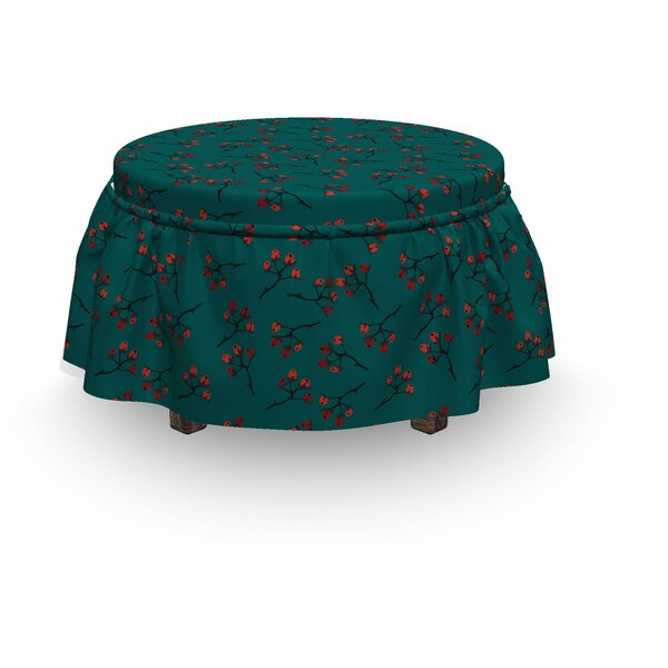 Berry Christmas Rustic 2 Piece Box Cushion Ottoman Slipcover Set By East Urban Home