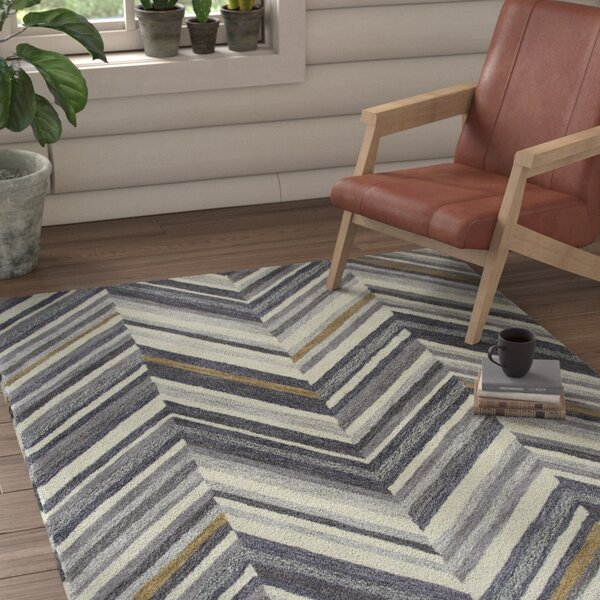 Manwaring Hand-Tufted Wool Gray Area Rug by Union Rustic
