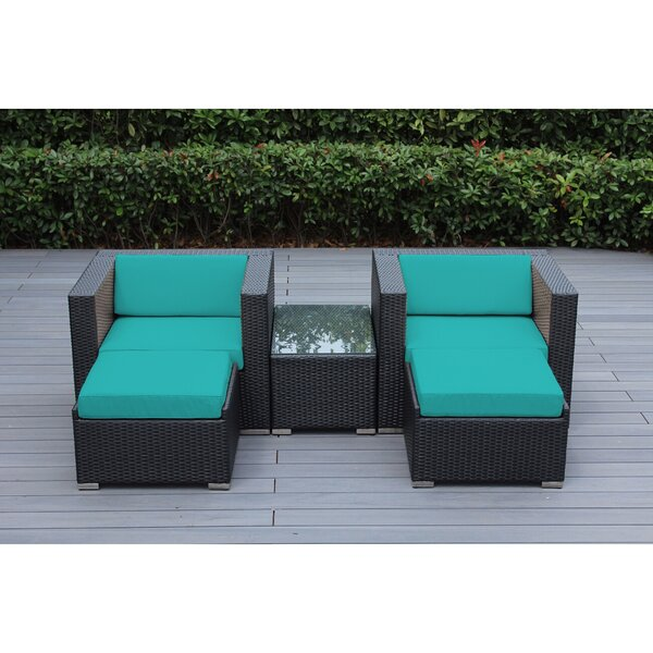Baril 5 Piece Rattan Sunbrella Seating Group with Cushions by Wade Logan
