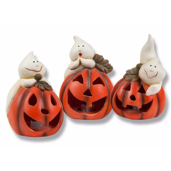 Halloween 3 Piece Decorative Light Up Pumpkin Set by Colordrift LLC