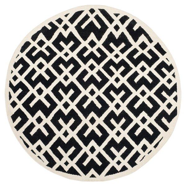 Dhurries Hand-Woven Wool Black/Ivory Area Rug by Safavieh