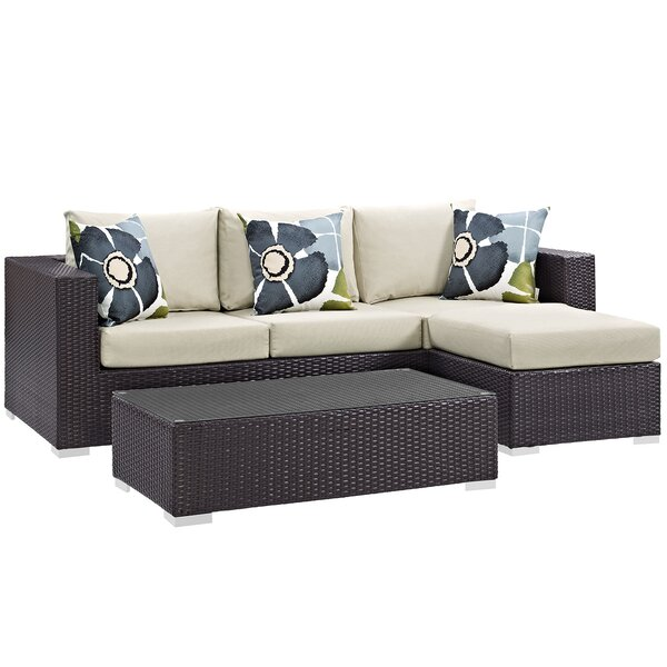 Brentwood 3 Piece Rattan Sectional Seating Group with Cushions by Sol 72 Outdoor Sol 72 Outdoor