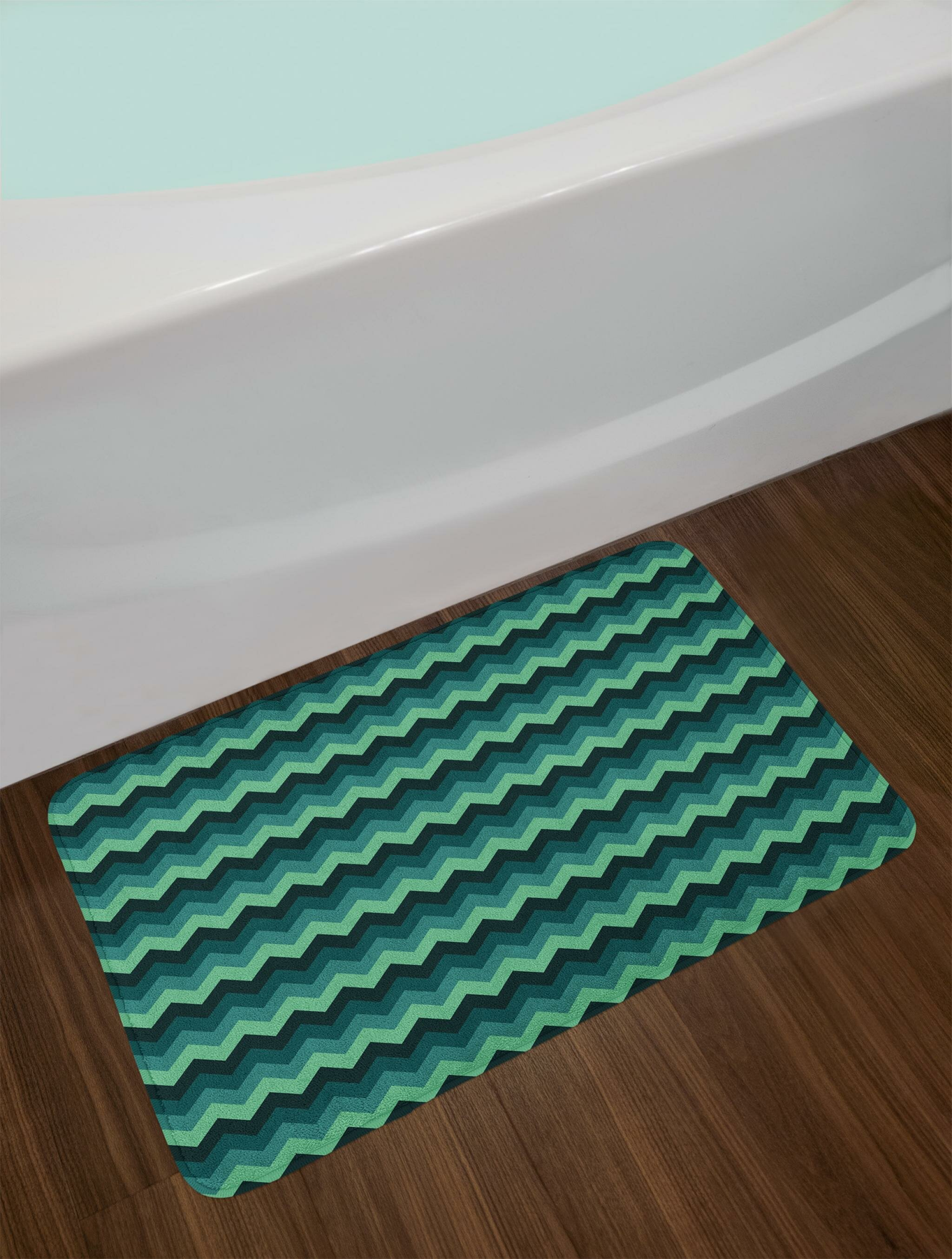 East Urban Home Expressionist Teal Bath Rug | Wayfair