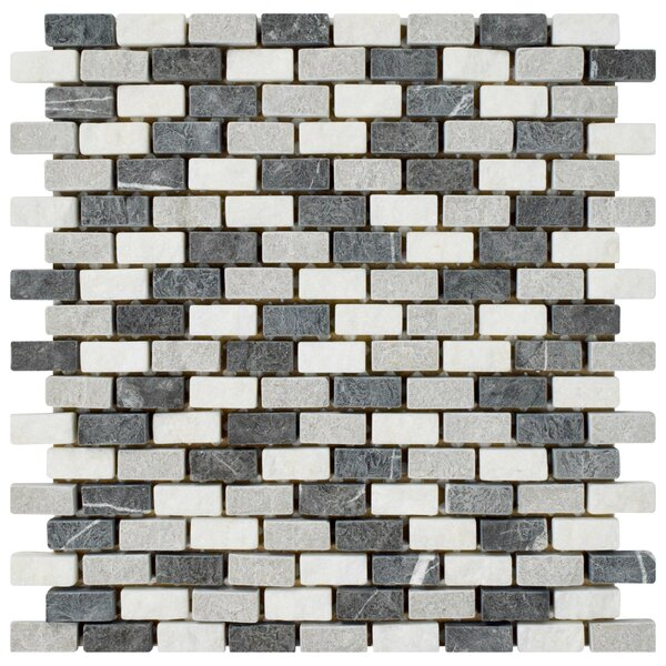 Grizelda 0.5 x 1.25 Natural Stone Mosaic Tile in Charcoal by EliteTile