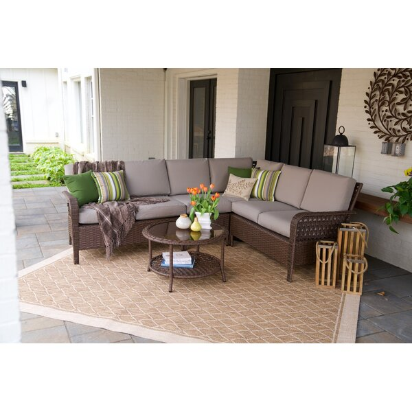 Kettner 5 Piece Rattan Sectional Set with Cushions by Bayou Breeze