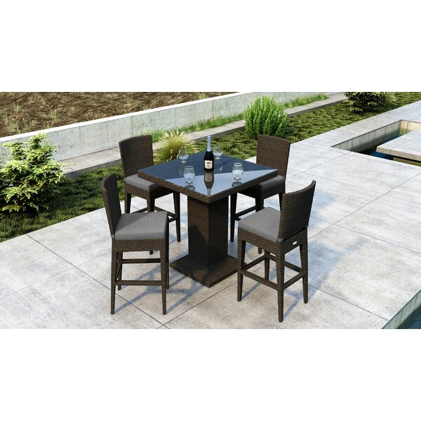 Glen Ellyn 5 Piece Dining Set with Sunbrella Cushion by Everly Quinn
