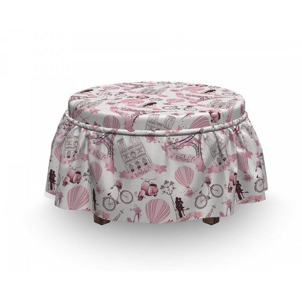 Eiffel Love In Paris Bridal 2 Piece Box Cushion Ottoman Slipcover Set By East Urban Home