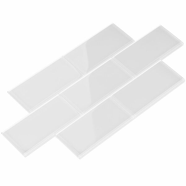 3 x 6 Glass Subway Tile in Bright White by Giorbello