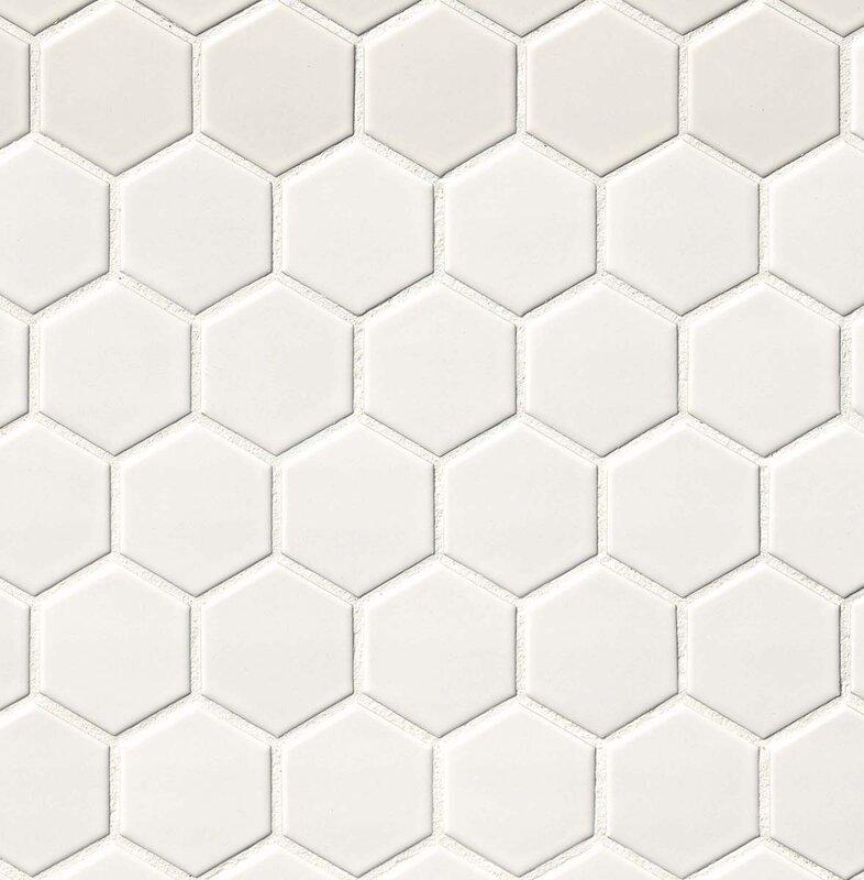msi hexagon 2 u0026quot  x 2 u0026quot  porcelain mosaic tile in matte white