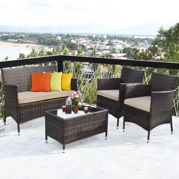 Hayti 4 Piece Rattan Sofa Seating Group with Cushions by Ebern Designs