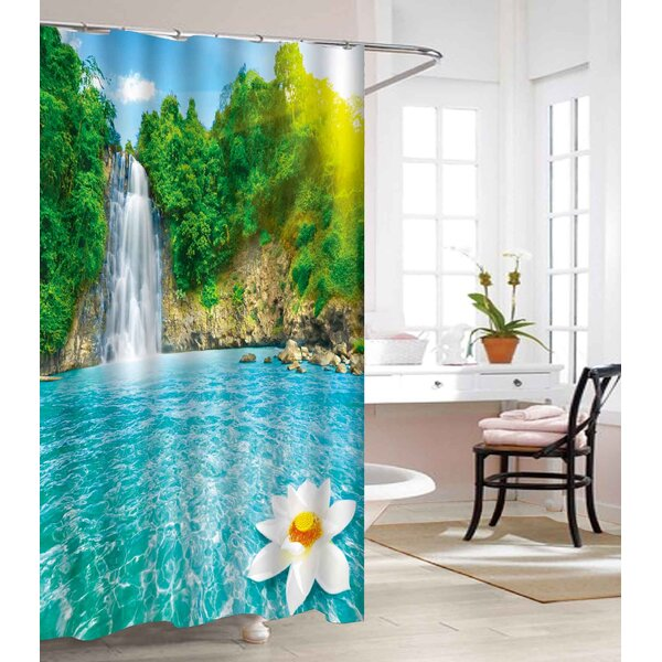Waterfall Heavy-Weight Waterproof Vinyl Shower Curtain by East Urban Home