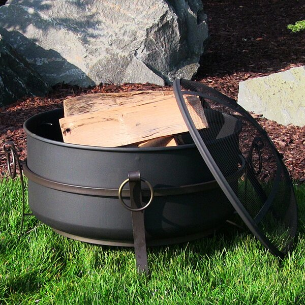 Flanigan Cauldron Steel Wood Burning Fire Pit by Charlton Home