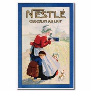 Nestle Cocolate au Lait Vintage Advertisement on Wrapped Canvas by Trademark Fine Art