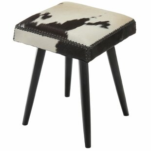 Fowlkes Cowhide and Mahogany Accent Stool