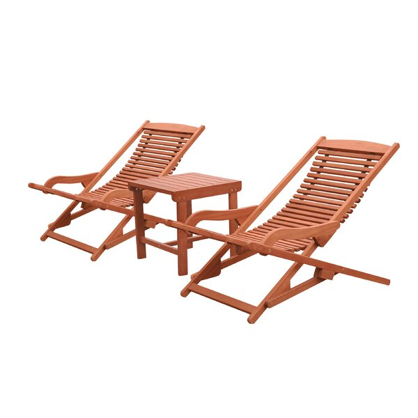 Monterry Reclining Chaise Lounge Set with Table by Beachcrest Home
