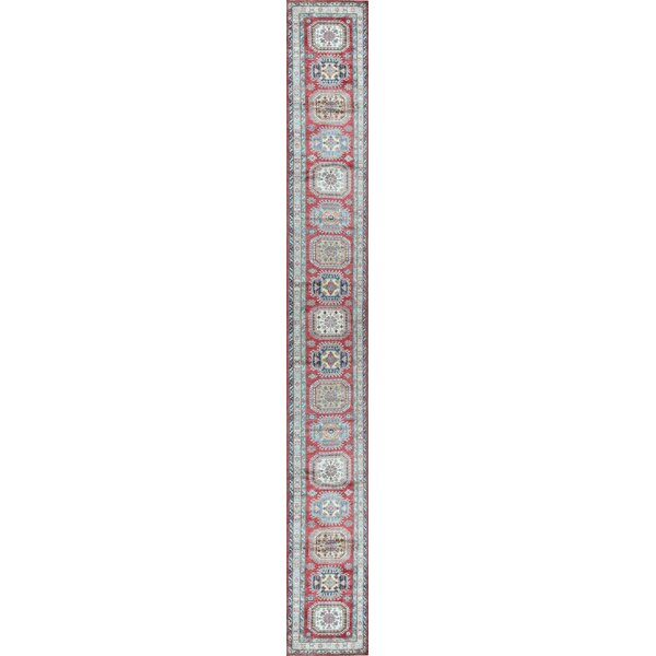 Runner Southwestern Hand-Knotted Red/Ivory Area Rug