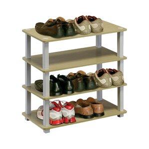 4tier 12 pair stackable shoe rack