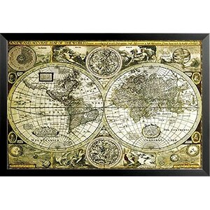 Historical World Map Antique Globes 1626 Framed Graphic Art by Buy Art For Less