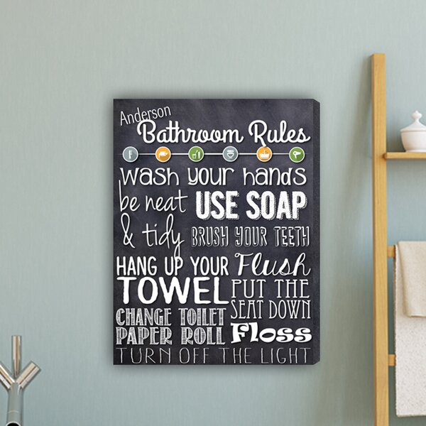 Bathroom Rules Textual Art on Canvas by JDS Personalized Gifts