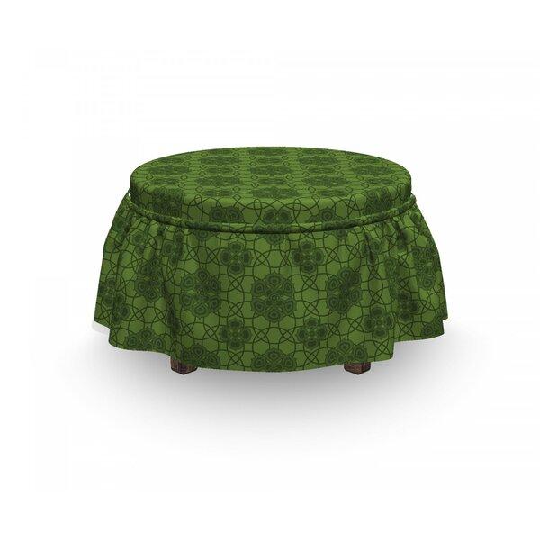 Free S&H Sage Mandala Geometrical Floral 2 Piece Box Cushion Ottoman Slipcover Set