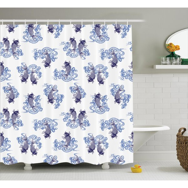 Ouindo Underwater Creature Figure As Love Couples on Waves Japanese Unique Sea Print Shower Curtain by World Menagerie