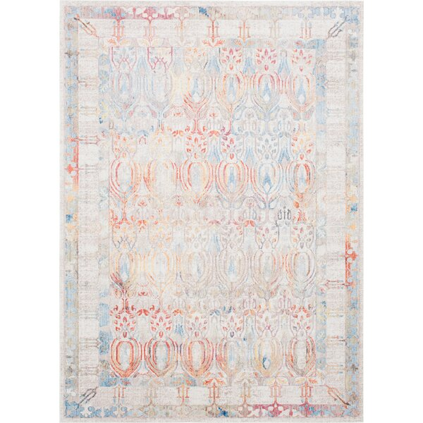 Gomez Ivory/Orange Area Rug by Bungalow Rose