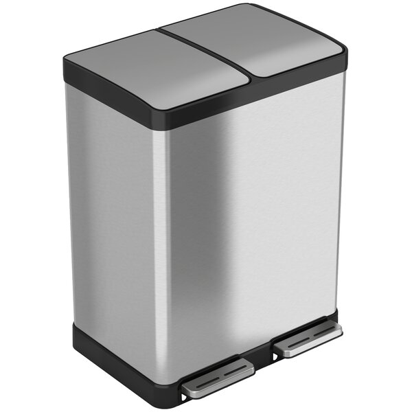 Stainless Steel 16 Gallon Step-On Multi-Compartments Trash and Recycling Bin by iTouchless