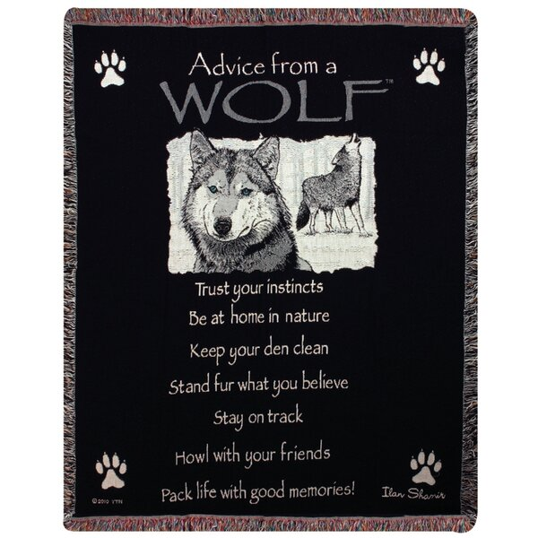 Advice From a Wolf Tapestry Cotton Throw by Manual Woodworkers & Weavers