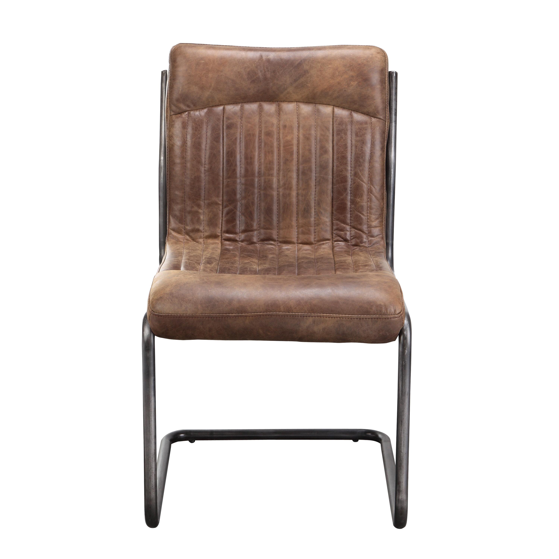 17 Stories Belmiro Modern Genuine Leather Upholstered Dining Chair Reviews Wayfair Ca