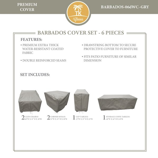 Barbados 6 Piece Water Resistant Patio Sofa Cover Set by TK Classics