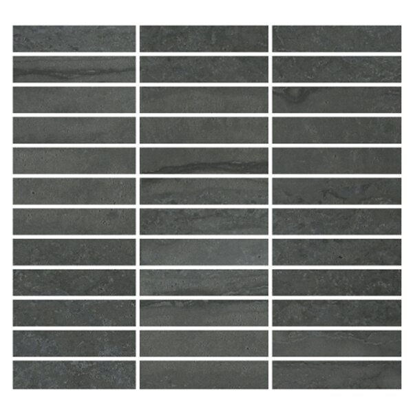 Nova 1 x 4 Porcelain Mosaic Tile in Dark Gray by Madrid Ceramics