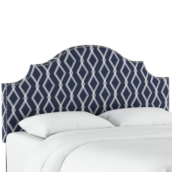 Newberry Nail Button Notched Crossweave Upholstered Panel Headboard by Wrought Studio