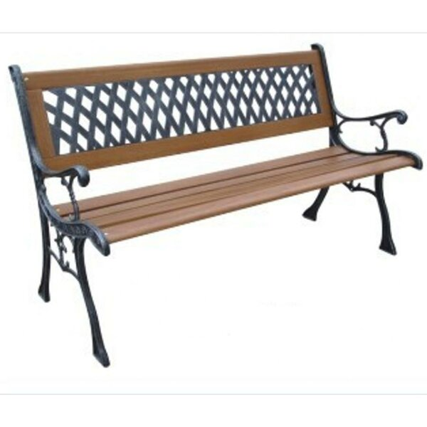 Mesh Resin Wood and Cast Iron Park Bench by DC America