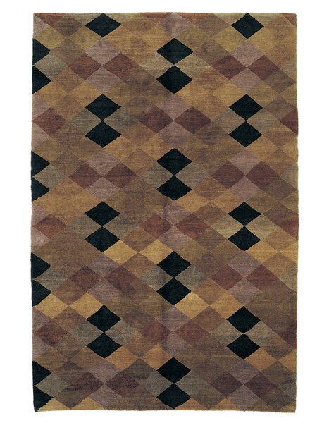 Core Geometric Hand-Knotted Wool Brown Area Rug