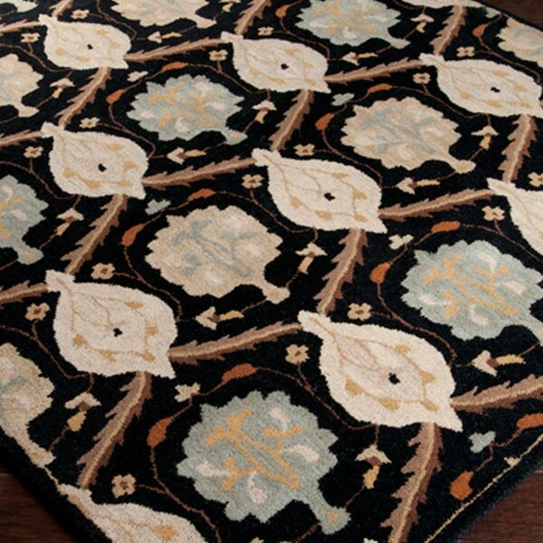 Keefer Jet Black/Gray Floral Area Rug by Charlton Home