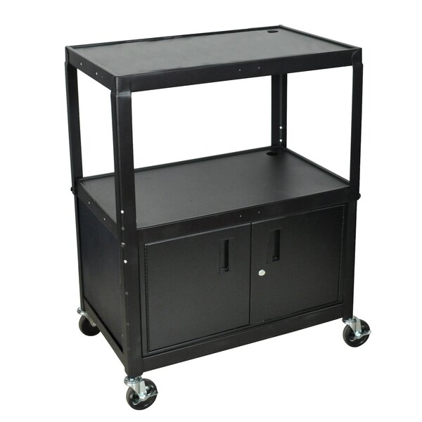 Extra Wide AV Cart with Cabinet by Luxor