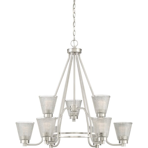 Haskett 9-Light Shaded Tiered Chandelier By Highland Dunes