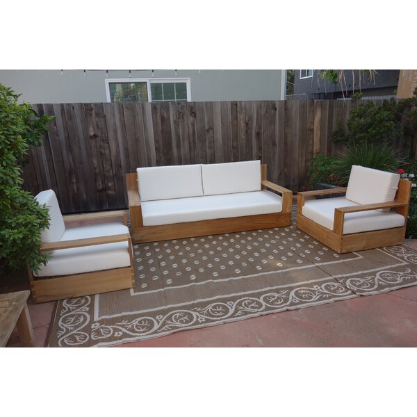 Braeden 3 Piece Sofa Seating Group with Sunbrella Cushions by Longshore Tides
