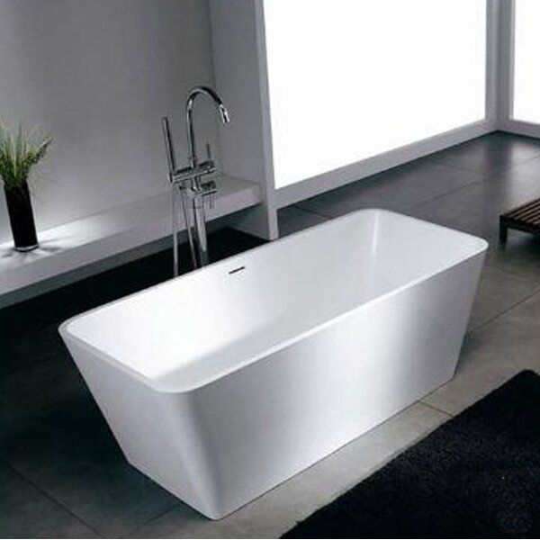 Blanc 58.25 x 26.38 Artificial Stone Freestanding Bathtub by Spa Escapes